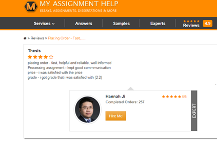 MyAssignmenthelp user reviews on thesis